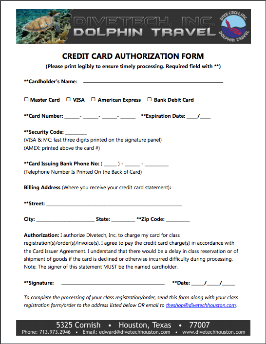 divetech credit card authorization form