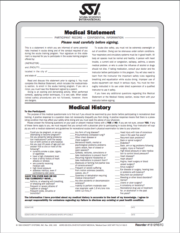dive physical exam guidelines